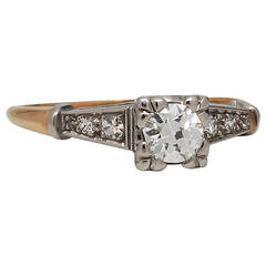 Vintage Diamond Engagement Ring 18 Karat YG and Platinum, circa 1930s