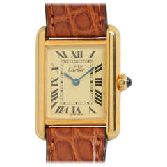 Cartier Lady's Gilt Silver Must de Cartier Tank Louis Wristwatch circa 2000s