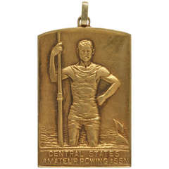 Vintage Rower's Gold  Awards Plaque Pendant circa 1920