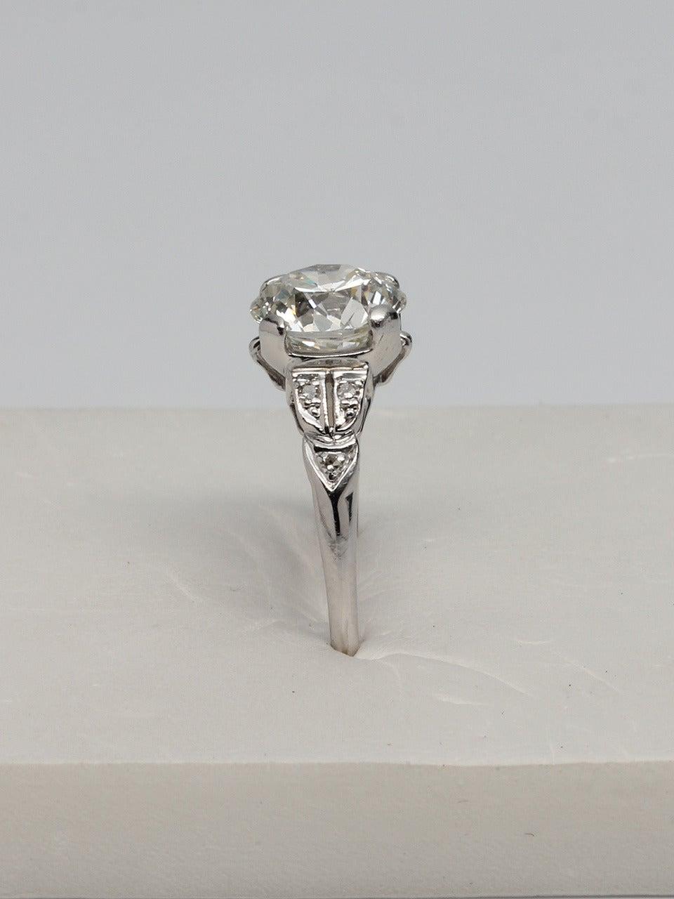 b212d373437bb Vintage Art Deco Diamond Engagement Ring Platinum 2.05 Carat I/VS2, circa  1930s
