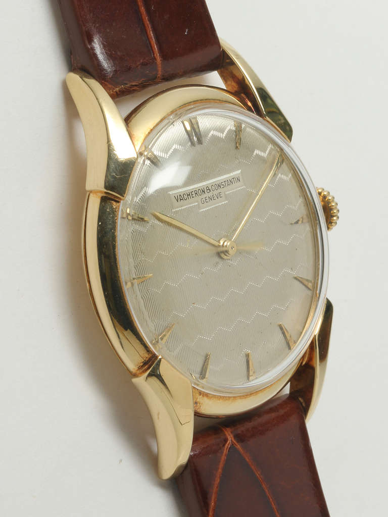 vacheron and constantin yellow gold wristwatch with guilloche dial circa 1950s at 1stdibs