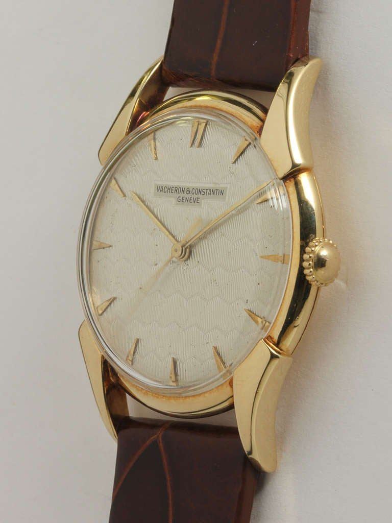 Vacheron & Constantin Yellow Gold Wristwatch with Guilloche Dial circa 1950s In Excellent Condition For Sale In West Hollywood, CA