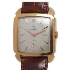 Omega Rose Gold Square Automatic Wristwatch circa 1950s
