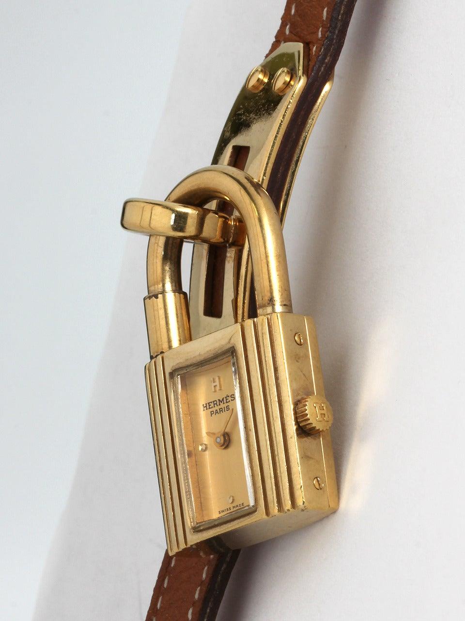 birkin luggage hermes - Hermes Gold Plated Kelly Lock Watch at 1stdibs
