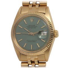 Rolex Yellow Gold Datejust Wristwatch with Custom-Colored Dial Ref 1601