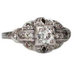 Diamond Platinum Engagement Ring 0.35 Carat Old European Cut H-VS2, 1930s