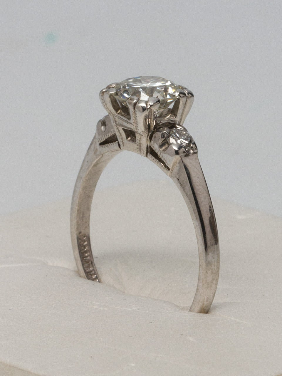 platinum and engagement ring circa 1940s for sale