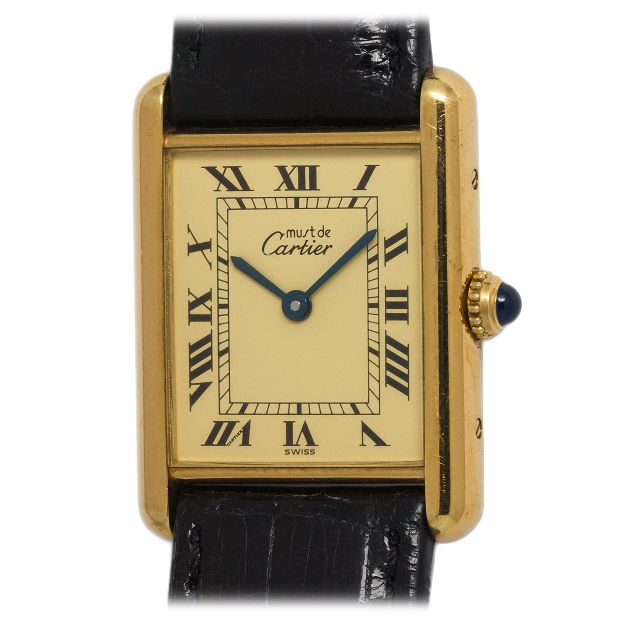 cartier vermeil tank louis must de cartier quartz wristwatch at 1stdibs. Black Bedroom Furniture Sets. Home Design Ideas