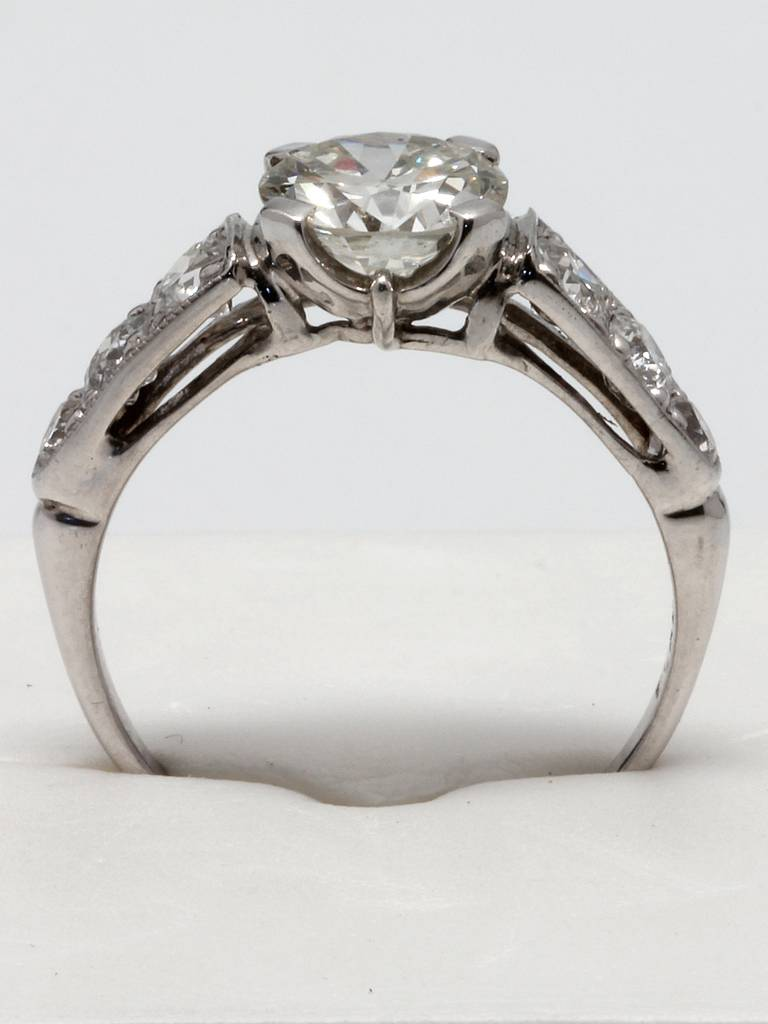 Vintage Engagement Ring Platinum 1 32ct Old European Cut J