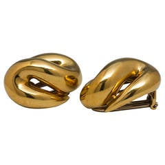 Yellow Gold Moderne Earrings circa 1960's