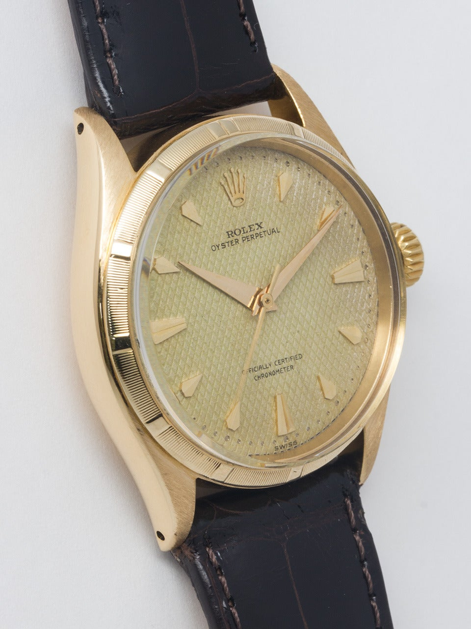 Rolex Yellow Gold Oyster Perpetual Wristwatch Ref 6085 circa 1953