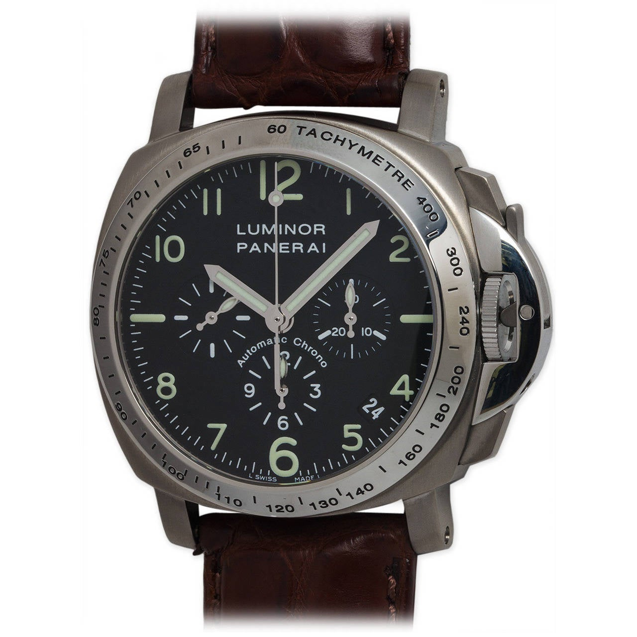 panerai titanium luminor chronograph wristwatch pam 74 at