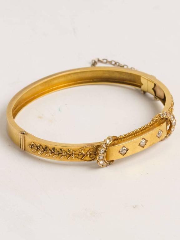 Victorian Diamond Gold Bangle Bracelet, circa Early 1900s 2