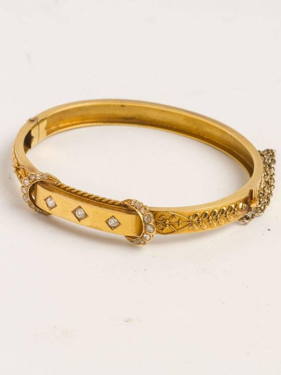 Victorian Diamond Gold Bangle Bracelet, circa Early 1900s 3