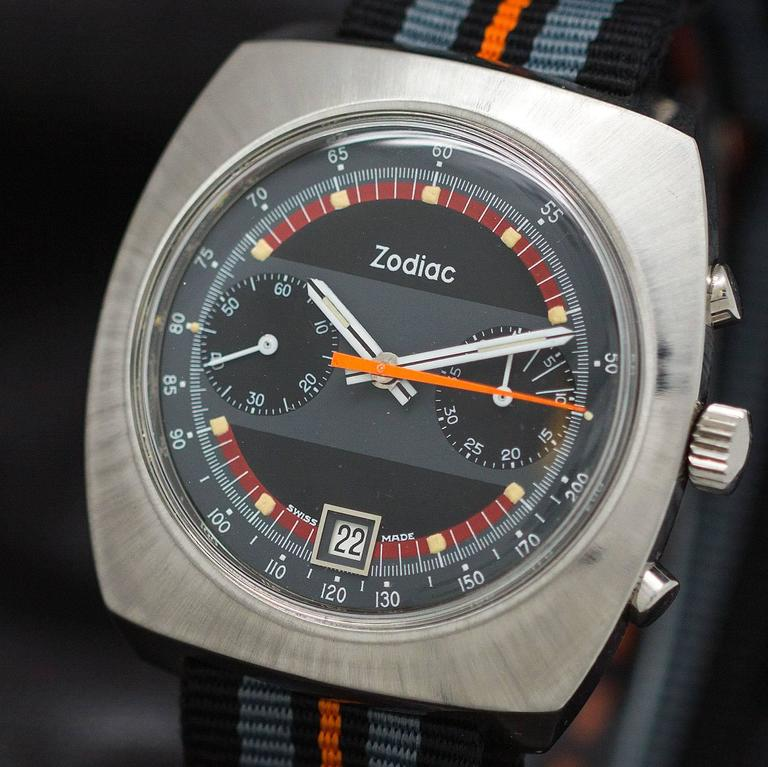 Zodiac Stainless Steel Chronograph Wristwatch circa 1970s For Sale 1