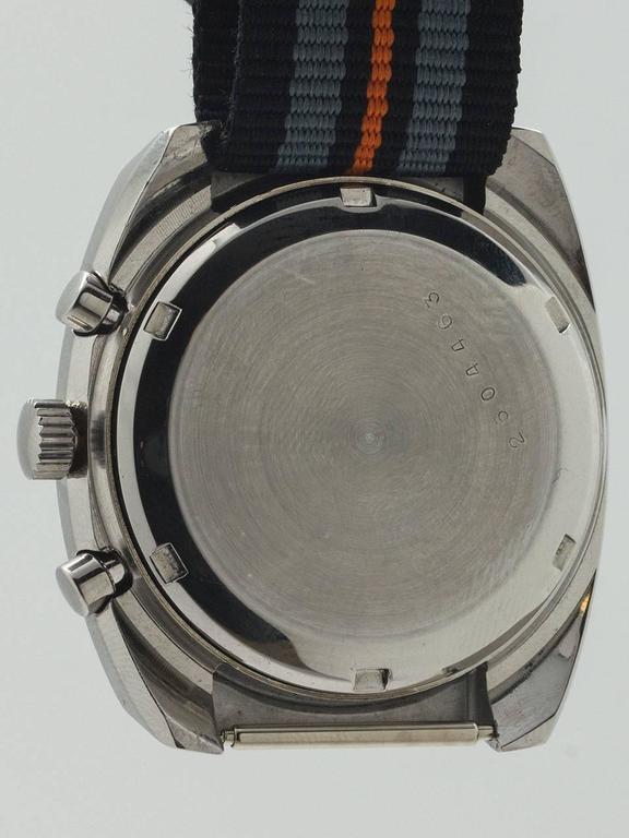 Men's Zodiac Stainless Steel Chronograph Wristwatch circa 1970s For Sale