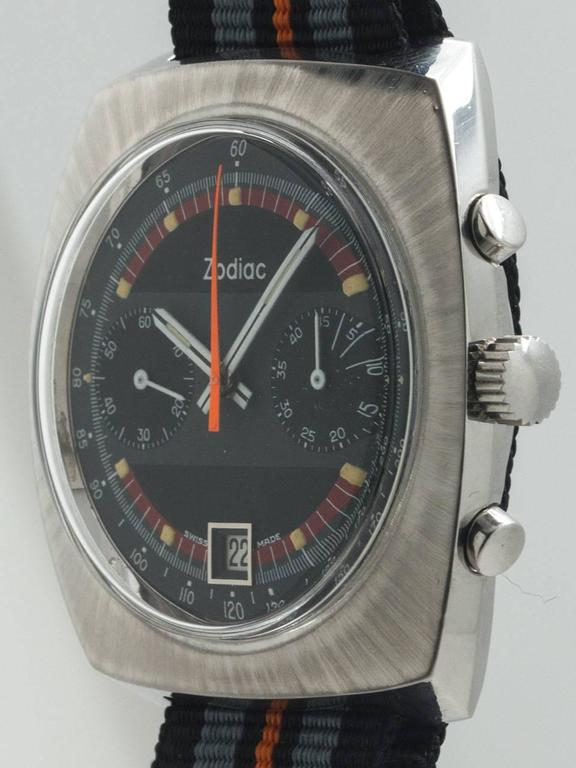 Zodiac Stainless Steel Chronograph Wristwatch circa 1970s In Excellent Condition For Sale In West Hollywood, CA