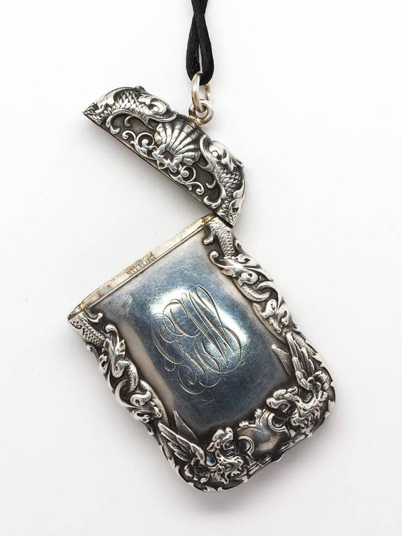 Sterling Silver Art Nouveau Match Safe Pendant Necklace In Excellent Condition For Sale In West Hollywood, CA