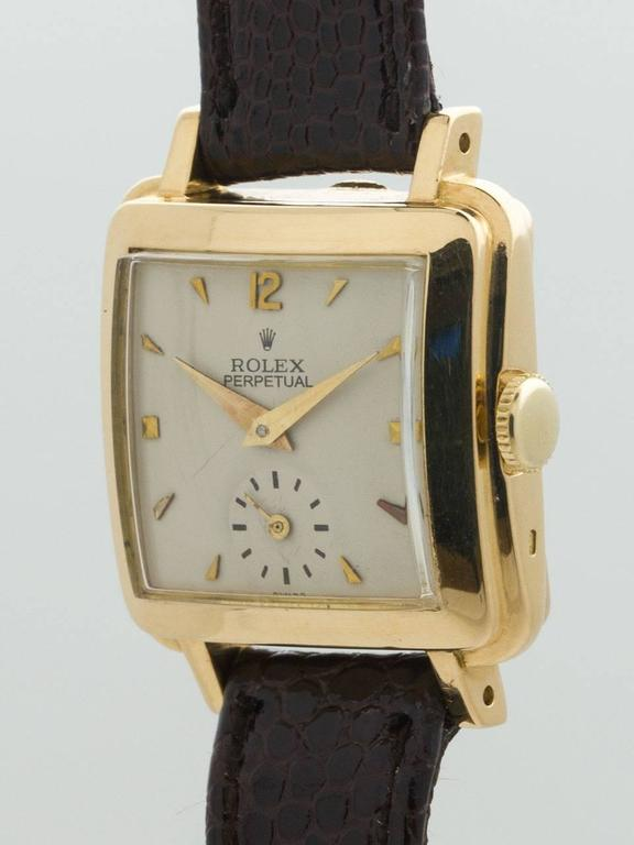 Rolex Lady's Yellow Gold Square Bubbleback Wristwatch Ref 4663  In Good Condition For Sale In West Hollywood, CA