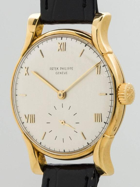 Patek Philippe Yellow Gold Wristwatch Ref 1596  In Excellent Condition For Sale In West Hollywood, CA