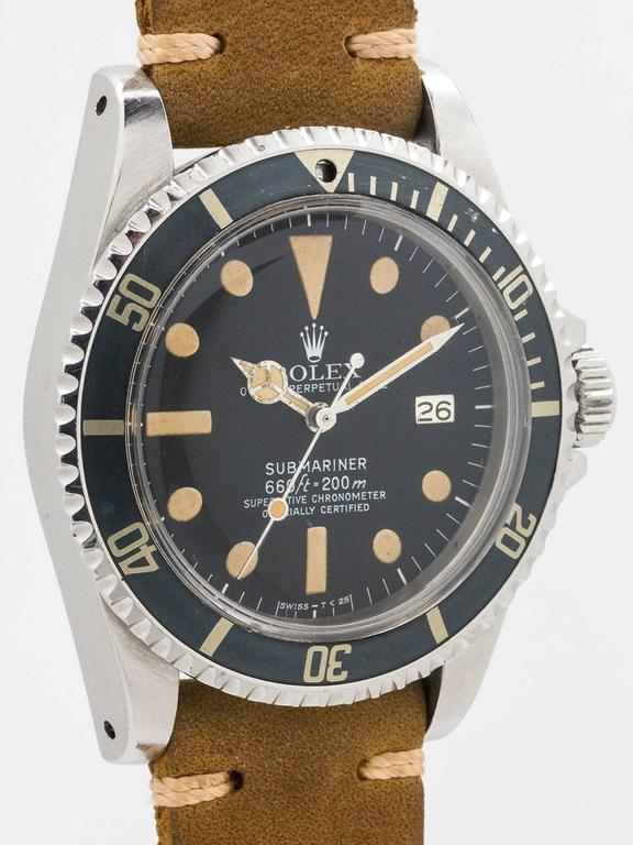 Great looking vintage Rolex Submariner Wristwatch ref 1680 serial no 5.3 million circa 1977. Featuring 40mm diameter stainless steel heavy lug case with nicely faded bidirectional 24 hour bezel (with pearl missing). Great condition original matte