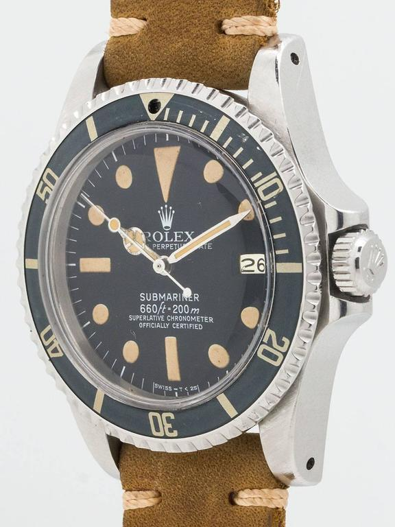 Rolex Stainless Steel Submariner Wristwatch Ref 1680 1977 In Excellent Condition In West Hollywood, CA