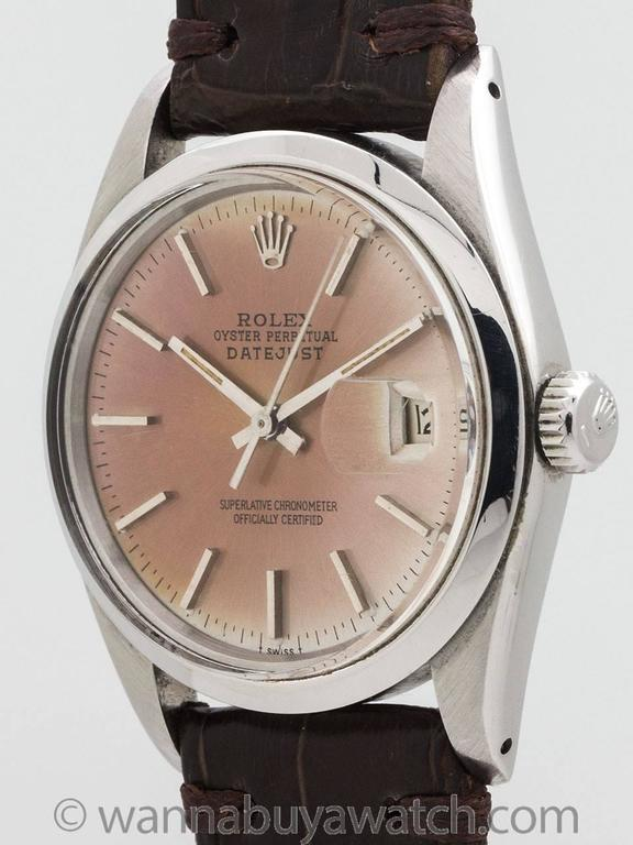 Rolex Datejust stainless steel scarce ref 16000 with richly patina'd original dial case serial #5.5 million circa 1978. Makes a wonderful commemorative gift for 1978 birthdays and anniversaries. Featuring a 36mm diameter case with smooth bezel,
