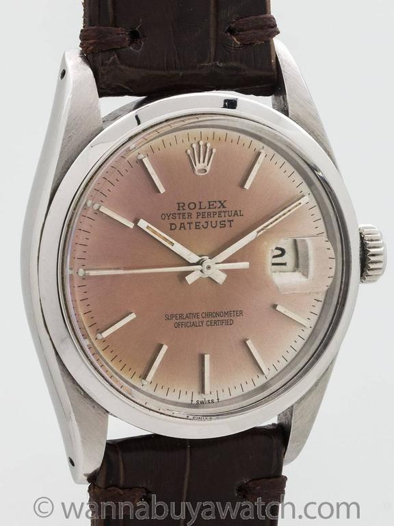 Modern Rolex Stainless Steel Datejust Patina'd Dial Automatic Wristwatch Ref 16000 1978 For Sale