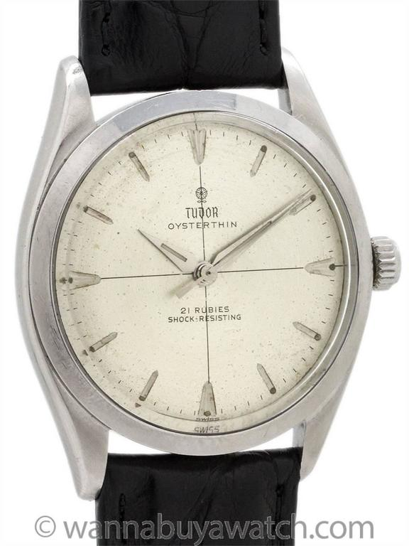 "Vintge Tudor Oyster-Thin ref 7960 circa 1960. Unusual model housed in 35mm diameter Oyster case with screw down crown and screw down caseback. Caseback engraved ""Original Oyster Case by Rolex Geneva."" Featuring an original matte silver dial with"