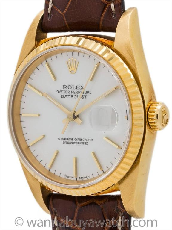 Rolex Yellow Gold Enamel Dial Datejust Automatic Wristwatch Ref 16018 1987 2
