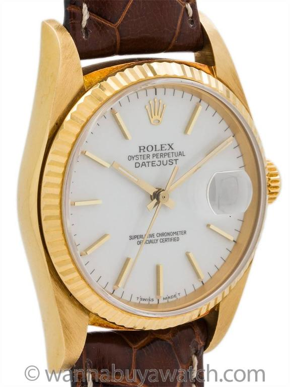 Rolex Yellow Gold Enamel Dial Datejust Automatic Wristwatch Ref 16018 1987 3