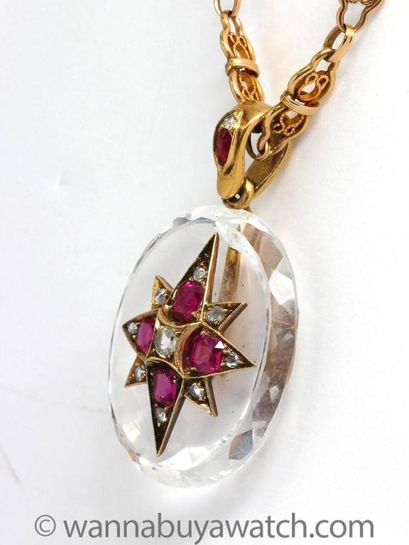 Striking Victorian Rock Crystal Ruby Diamond Gold Necklace 3