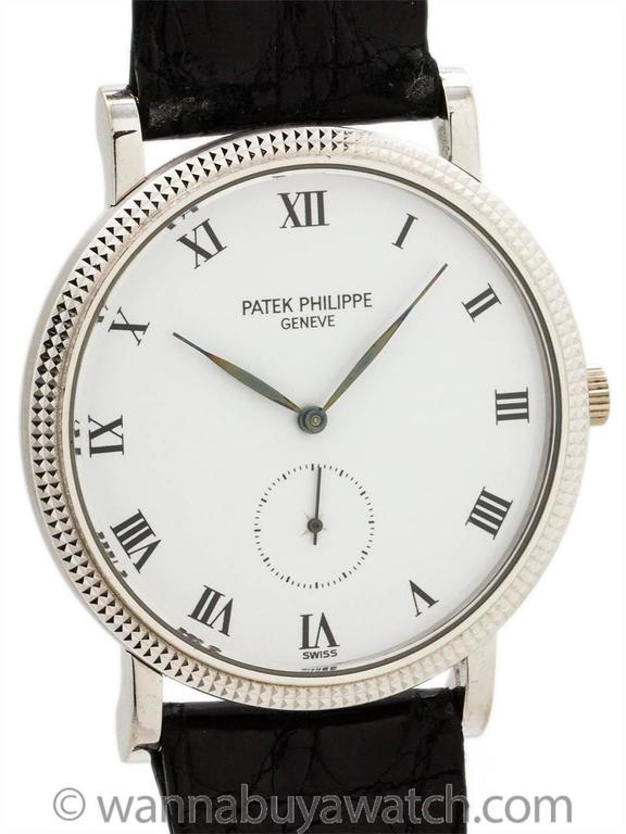 Modern Patek Philippe White Gold Hobnail Bezel Manual Wind Wristwatch Ref 3919 For Sale
