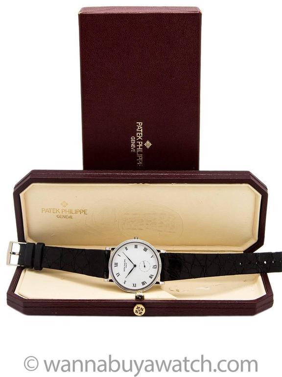 Men's Patek Philippe White Gold Hobnail Bezel Manual Wind Wristwatch Ref 3919 For Sale