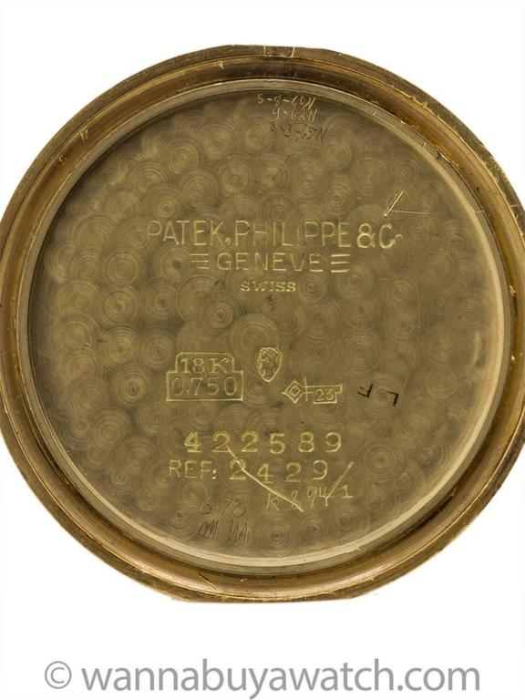Men's Patek Philippe 18K YG Ref 2429 circa 1955+ For Sale