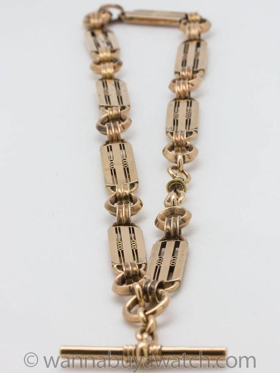 Edwardian Pocketwatch Chain Necklace 9k Gold circa 1900-1910 For Sale