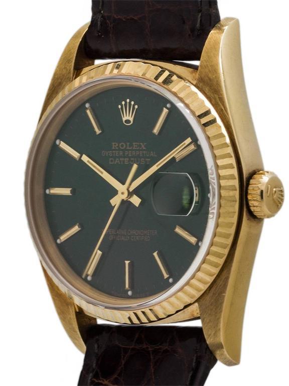 Rolex Yellow Gold Datejust Forest Green Dial Self Winding Wristwatch circa 1984 2