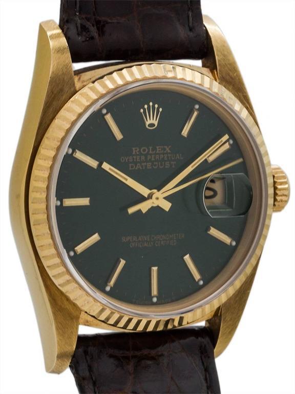 Rolex Yellow Gold Datejust Forest Green Dial Self Winding Wristwatch circa 1984 3