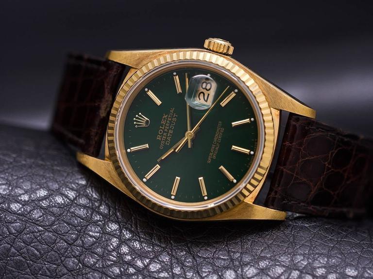 Rolex Yellow Gold Datejust Forest Green Dial Self Winding Wristwatch circa 1984 6