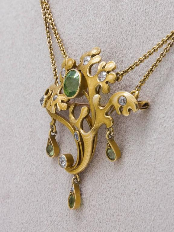 Art Nouveau  Peridot and Diamond Pin and Pendant   In Excellent Condition For Sale In West Hollywood, CA