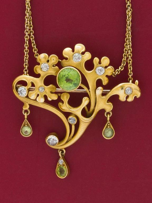 Women's Art Nouveau  Peridot and Diamond Pin and Pendant   For Sale