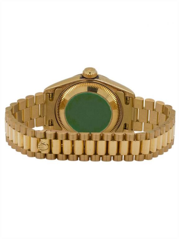 Rolex Ladies President Yellow Gold Lapis Lazuli Automatic Wristwatch circa 1985 4