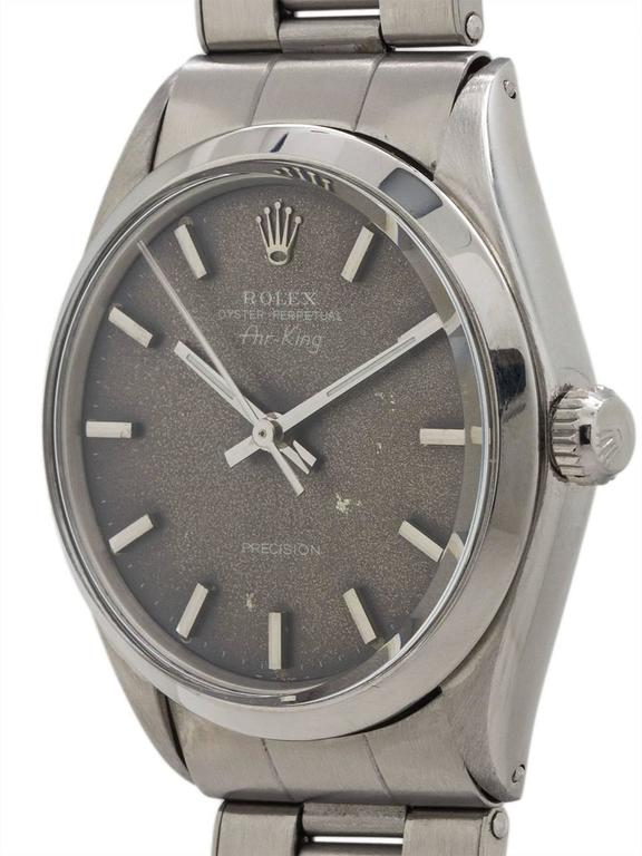 """Rolex stainless steel Oyster Perpetual Airking ref 5500 serial# 2.0 million circa 1968 with distinctive distressed """"tropical"""" dial with applied silver indexes & silvered baton hands. This 34mm diameter man's model features an original gray dial"""