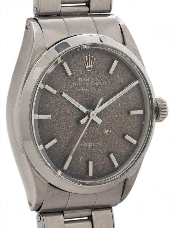 Modern Rolex stainless steel Oyster Perpetual Airking Tropical Dial Wristwatch, c1968 For Sale