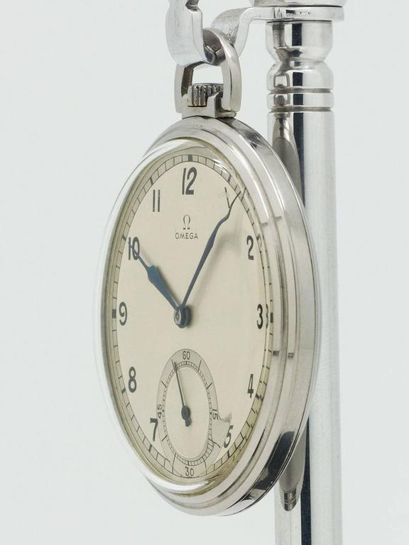 Omega Stainless Steel Industrial Design Era Pocket Watch, circa 1930s 2