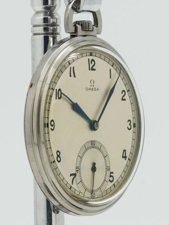 Omega Stainless Steel Industrial Design Era Pocket Watch, circa 1930s 3