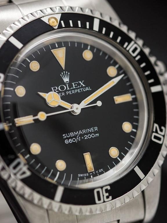 Rolex Stainless Steel Submariner Self Winding Wristwatch Ref 5513, circa 1988 5