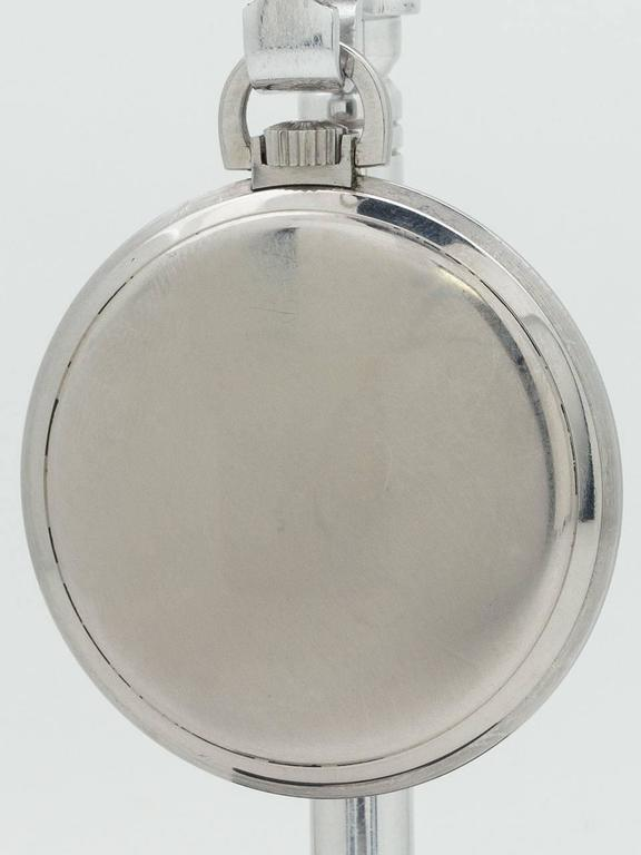 Longines Stainless Steel Industrial Design Manual Wind Pocket Watch, circa 1930s 4