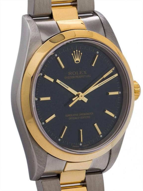Modern Rolex Yellow Gold Stainless Steel Oyster Perpetual Wristwatch, circa 2003 For Sale