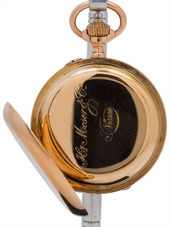 Henry Moser Yellow Gold Hunting Case Pocket Watch, circa 1900 3